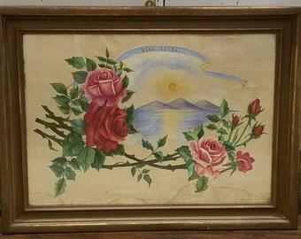Vintage Framed FloraL Art/Shabby Chic Artwork/Large Framed Art/Shabby Decor