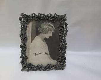 Ornate Pewter Picture frame Rose covered Victorian Style Picture Frame  5 x 6