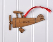 Wooden Airplane 2016 Ornament Baby's First Christmas Personalized Kids