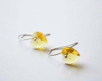 Yellow Crystal Heart Earrings, Swarovski Crystal, Sterling Silver, Ready to Ship