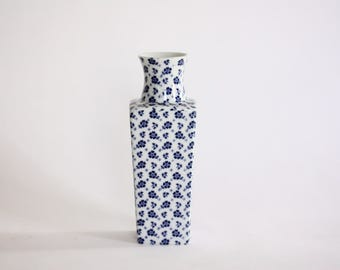Vintage Porcelain Blue and White Floral Vase from Japan