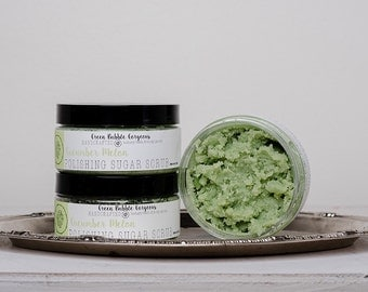 Natural Sugar Scrub, Cucumber Melon, with Shea Butter,  8 oz. by greenbubblegorgeous on etsy