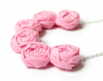 Pink Girls necklace, fabric flower necklace, fabric rosette necklace
