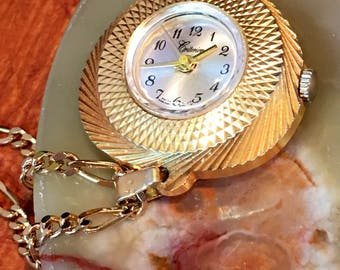Criterion swiss watch pendant necklace, Works