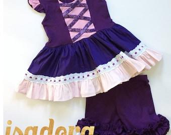 Girl's Swing top T shirt tunic and shorts set Rapunzel