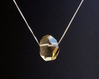Sterling Silver Necklace with a faceted lemon quartz gemstone