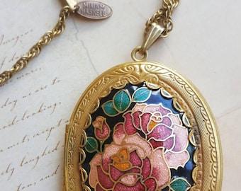 Vintage Miriam Haskell enamel locket