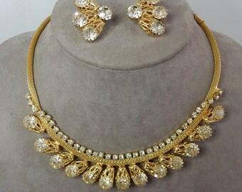 Gold Tone JULIANA  Rhinestone Necklace & Clip On Earrings Set   NEP22
