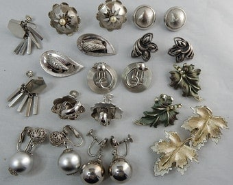 11 pr Silver Tone Button and Dangle Clip On & Screw Back Earrings Lot
