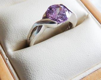 Vintage Sterling Silver CZ Lavender Stone Ring