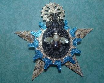 Honeybee, Steampunk Style,  Assemblage Christmas Star Ornament