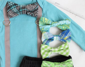 Newborn Christmas Holiday Baby Boy Coming Home Outfit Set up to 2 Items. Bow Tie & Suspender Bodysuit, Pants Tie Outfit Teal Aqua Turquoise