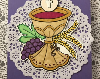First Communion, Religious, Christian, Wine, Bread, Child, Spiritual, Greeting Card, Handcrafted, Paper Craft, Stamped, Stamping