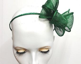 Grass Green fascinator sinamay loops and  headband fixing Kale green headband bow