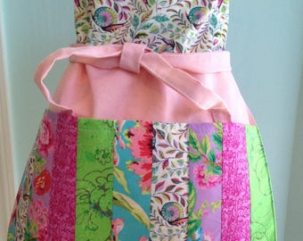 Gardening Apron, Pieced, Pinks, Lilac, Greens and Teals, Handmade