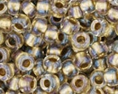 Japanese (TOHO) 8/0, Seed Bead, Inside-Color CRYSTAL/ GOLD Lined, beige, tan, brown, gold,  #262, Kumihimo, Beadweaving, Beading, Jewelry