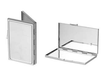 """1 pc. Silver Rectangle Make Up Compact Mirror Blanks - 8.2cm x 5.4cm (3 1/4"""" x 2 1/8"""") - DIY - Foldable!"""
