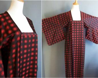 kimono coat with lenticular movement-based op art silk! michiyuki coat vintage kimono op art kimono 1960s kimono coat deadstock red black