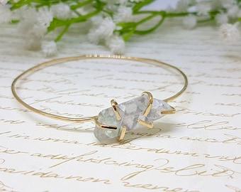 Raw Stone Bracelet, Raw Stone Jewelry, Raw Fluorite, Raw Stone Gold Bangle, Rough Stone Bangle Bracelet, Bridesmaid Bracelet, Gift Ideas