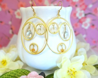 Gold triple hoop oval earrings with green amethyst, Triple circle gold hoops dangle boho chic earrings, green, orange gold earrings
