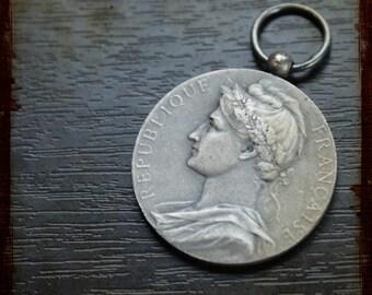 Antique French Silver Vintage Art medal signed Borrel depicting Lady France Marianne