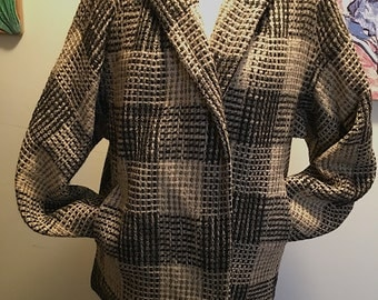 SALE!!  Wool Black and White Tweed/Plaid Vintage Made in Holland Womens Jacket