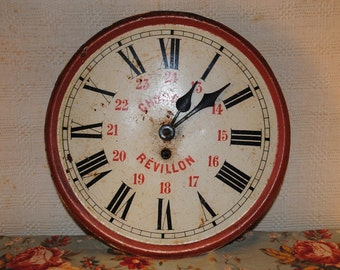 Antique French tole WALL CLOCK Chocolat REVILLON Japy