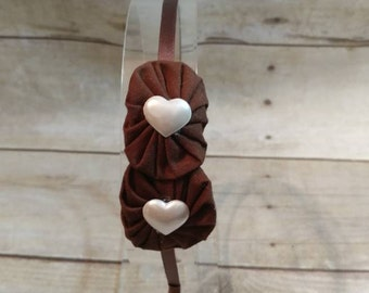 Brown Headband, Headband, Yo Yo Flower Headband, Brown YoYo Flower Headband, Fabric Flower Headband, Satin Lined Headband, Girls Headband