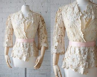Antique Battenburg Lace Jacket | Size Medium