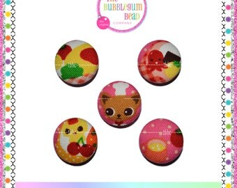 """7/8"""" CHEF BENTO BOX Kawaii Covered Button, Sewing Notion, Buttons, Bento Theme Buttons, Whimsical Buttons, Fabric Covered Shank Button"""