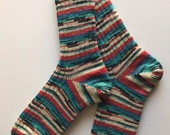Knitted Socks , Women,  Wool, Opal Rainforest 12, Hand Cranked