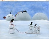 Hilly Hurray Giclée Archival Print - Paper or Canvas - Winter Folk Art - Snowman & Kids Sledding with steam engine train - Various Sizes