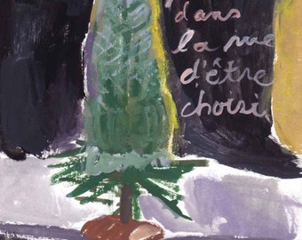 Christmas Tree ( Beau Sapin), Paris,  original art print