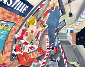 Metro, Paris,  original art print