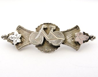 Antique English sterling silver bicycle sweetheart brooch