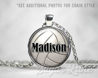 Personalized Volleyball Necklace - Glass Dome Necklace - Custom Volleyball Pendant - Volleyball Mom Jewelry - Name or Number