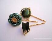 Vintage earrings hair grips - Forest dark moss pine hunter green thermoset satin pearl gold rhinestone embellish decorative hair accessories