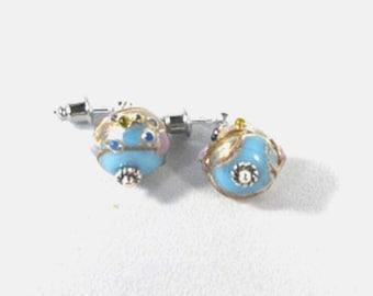Lampwork Earrings-blue-silver-hypoallergenic