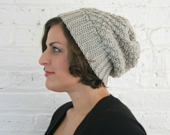 Slouch Hat - Soft Grey Textured Slouch Beanie - Super Warm Baggy Hat