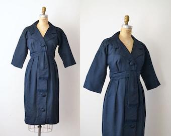 1950s Navy Blue Silk Dress / 50s Portrait Collar Dress