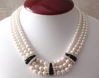 Pearl Choker Necklace Triple Strand Black Accents Rhinestones Wedding Vintage 110714CO