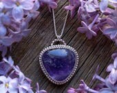 RESERVED LAYAWAY Sterling Silver Amethyst Necklace Purple Gemstone 925 Jewelry February Birthstone Hollie