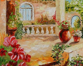 70%Off & Free Shipping Original Painting Landscape  Textured Painting Italian Villa Summer Tuscany Palette Knife Painting Sunny Flowers Home