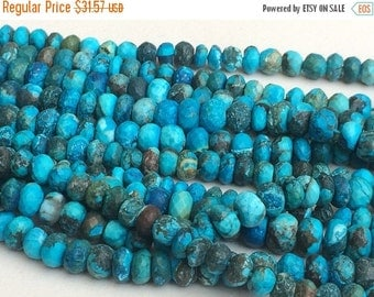 60% HOLIDAY SALE Turquoise Faceted Rondelle Beads, Chinese Turquoise Beads, Turquoise Necklace 5-9mm, 4 Inch, 21 Pcs - GSA11