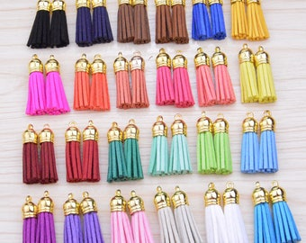 50 Tassels, Mini Tassels, Jewelry Tassels, suede leather tassels, Craft Tassels, Handmade Tassels, gold cap tassels 1.5'' CHOOSE YOUR COLORS