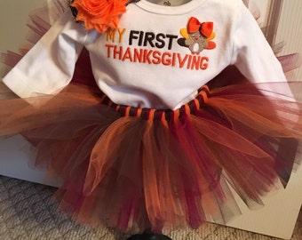 Sale First Thanksgiving Tutu Set Newborn Ready to Ship