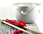 Ceramic Yarn Bowl Large Speckled Tan White Handmade Pottery Gift for Knitters Crochet by DeeDeeDeesigns Knitting & Crochet Organizer