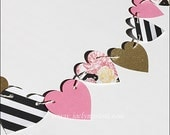 Bridal Shower Banner, Hearts And Peonies, Pink, Gold Glitter, Black & White Stripe, Birthday Party Decor, Sweet 16, Dessert Bar Backdrop