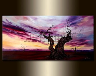 Oversized Modern Landscape abstract Tree Art sunset Sky Canvas Original Oil Painting HUGE 30X60 by Willson Lau