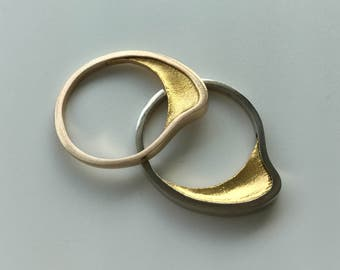 Gold Stacking Rings (2)   Minimalist   Modern   14K Yellow and White Gold & 24K Gold   Designer   Unusual  Architectonic Jewelry